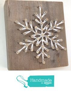 Rustic snowflake string art blocks - A unique gift for Birthdays, Christmas, Weddings, Anniversaries and House Warming gifts, Perfect for ski cabins. from Nail it Art https://www.amazon.com/dp/B018HLPH60/ref=hnd_sw_r_pi_dp_-GrHxbPP1C371 #handmadeatamazon