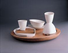 GICB2005 The International Competition/ <Special prize_Ceramics for use> / Kirstine Kejser JENBO /  Denmark /Rille Setting / 2003/   Molding , hand building, porcelain , wood /25×47×47