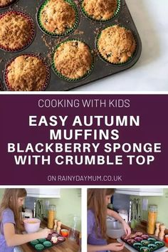An easy recipe for kids to cook to make some delicious blackberry crumble muffins. Healthy Make Ahead Breakfast, Make Ahead Breakfast Casserole, Delicious Breakfast Recipes, Healthy Family Meals, Cooking With Kids Easy, Easy Meals For Kids, Kids Meals, Top Recipes, Fall Recipes