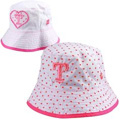 New Era Texas Rangers Toddler Girls Switch Up Hearts Reversible Bucket Hat  - White Pink fa1aea4e7