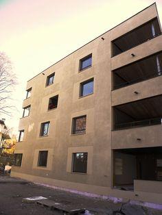 Verputz Corner House, Facade Architecture, Plaster, Wall Murals, Multi Story Building, Exterior, Texture, Facades, Cement Render