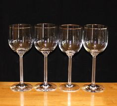 Gorgeous, Set of 4, Vintage, Lenox McKinley, Gold Rim, Water Goblets by cocoandcoffeevintage