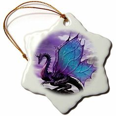 >> Huge price off!: 3drose orn_4145_1 Fairytale Dragon Snowflake Porcelain Ornament, 3-Inch at Christmas Home Decor .