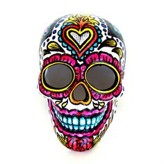 Ceramic Sugar Skull Sculpture Hand Painted Day of the Dead Red Roses Sacred Heart Pink Black White Dia de los Muertos - READY TO SHIP by sewZinski on Etsy https://www.etsy.com/listing/158314816/ceramic-sugar-skull-sculpture-hand