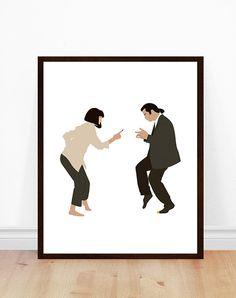 Pulp Fiction Poster, Art minimaliste, Pulp Fiction Print, affiche de film, Pulp Fiction Art, Portrait minimaliste