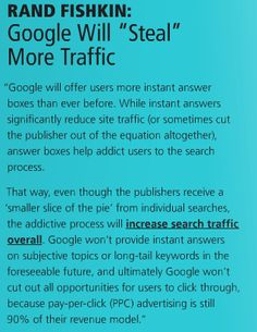 """prediction by :: Will """"Steal"""" More Traffic . but end up giving sites more volume in the long-term // Lead Generation, Search Engine Optimization, That Way, Seo, How To Get, Google"""