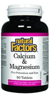 Natural Factors Clacium & Magnesium plus Potassium & Zinc, 90 Tablets by Natural Factors. $8.34. May reduce  high risk of osteoporosis later in life. Helps to regulate heartbeat, blood clotting and muscle contraction. Calcium helps women maintain good bone health. Protects the body from stress. Free Of Artificial colors or sweeteners, dairy, wheat and yeast. Calcium is required for strong bones, teeth and cardiac function. Calcium not only builds strong bones a...
