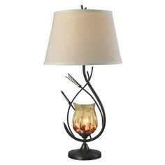 """Dale Tiffany Spotted Owl 29.5"""" H Table Lamp with Empire Shade"""