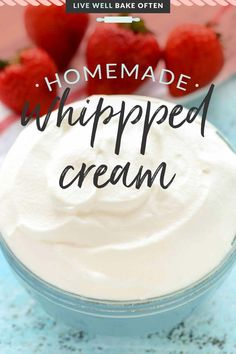 Homemade whip cream is a summertime staple! Learn how to make homemade whipped cream with just three ingredients. You'll want to ditch the store-bought stuff once you learn how easy it is to make your own! Homemade Desserts, Fun Desserts, Dessert Recipes, Baking Basics, Baking Tips, Cornbread Casserole, Homemade Whipped Cream, Corn Bread, How To Make Homemade