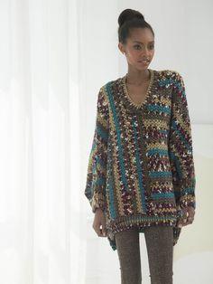 Free Crochet Pattern Lion Brand® Homespun® Groovy Granny Poncho Circumference at bottom edge 46 inches cm). Crochet Jumper, Crochet Lion, Crochet Poncho Patterns, Crochet Shawl, Knit Crochet, Tapestry Crochet, Crochet Winter, Crochet Tops, Free Crochet