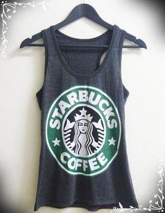 Women Tank top size S M L Dark grey Starbucks tank top sleeveless women singlet coffee shirt on Etsy, $13.00
