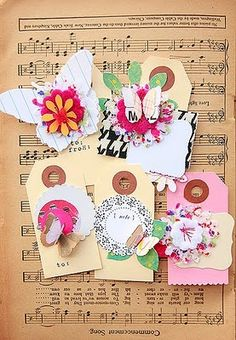 handmade scrapbook tags and embellishments