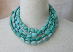 Statement Turquoise Multi strand Chunky by FiorellaJewelry on Etsy