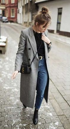 long blazer. vintage denim #streetstyle