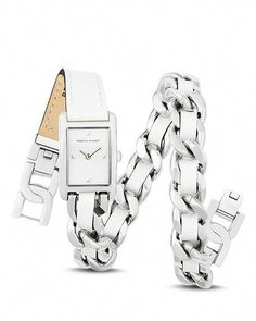 Rebecca Minkoff - Moment Leather & Chain Wrap Watch, 19mm #designerwatchesforwomen