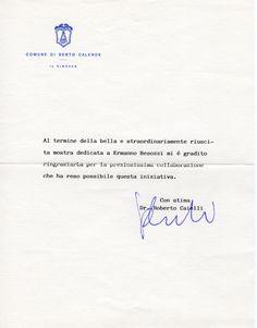 1996 Lettera di ringraziamento Assessore Cultura Caielli di Sesto Calende