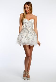 Short Strapless Dress with Multi-Color Sequins #camillelavie #CLVprom