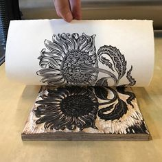 """Summertime garden inspiration yielded the """"BOWING FLOWER"""" woodcut--a x block print made from a single hand-carved birch plywood woodblock. Linocut Prints, Art Prints, Block Prints, Lino Art, Inspiration Artistique, Stamp Carving, Handmade Stamps, Illustration, Art Graphique"""