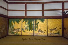 "The famous ""Mizunomi no Tora"" (Tiger drinking water- 水呑みの虎) sliding doors (fusuma-襖) at the Dai Hōjō hall (大方丈) in Nanzen-ji (南禅寺) in Kyoto. It was painted by the famous Kanō Tan'yū (狩野 探幽, 4 March 1602 – 4 November 1674). These sliding doors were moved from Momoyama Castle (桃山城) in Fushimi to its present location in Nanzen-ji Temple."