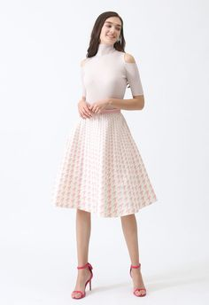 Destination For Houndstooth Midi Skirt in Pink - Retro, Indie and Unique Fashion Unique Fashion, Houndstooth, Midi Skirt, Girly, Elegant, Skirts, Model, Pink, How To Wear