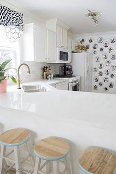 creating interest in an all white kitchen - Cuckoo4Design