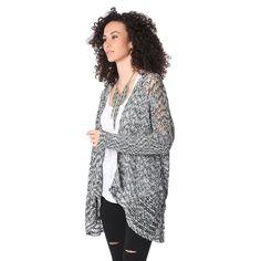 Gray waterfall cardigan in crochet