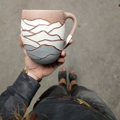 Unfired Black Mountain Mug. Three layers of grey turns to black. Grey and white available online soon @wyldergoods