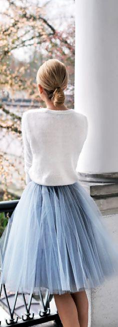 Summer Fashion ~ White Sweater + Sky Blue Tulle Skirt