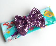 Mermaid turban headband with sparkle bow
