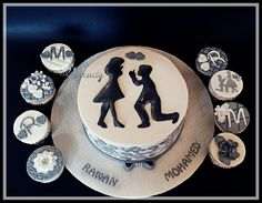 Engagement cake and cupcakes