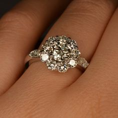 Handmade Art Deco Diamond Flower Engagement Ring 14k & by JdotC