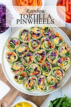 Rainbow Tortilla Pinwheels Recipe - Healthy Vegetarian Appetizer that is Quick and Gluten Free. Great dish to pass or picnic recipe. #Recipe #Rainbow #Healthy