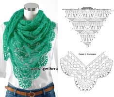 Najciekawsze wzory chust szydełkowych - Włóczki sklep internetowy Bonnet Crochet, Crochet Cardigan, Crochet Scarves, Crochet Shawl, Crochet Clothes, Knit Crochet, Crochet Triangle, Triangle Scarf, Crochet Diagram