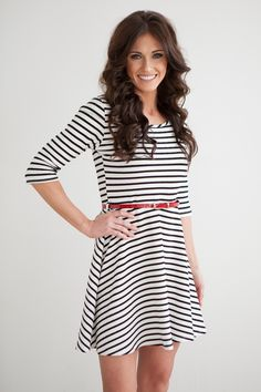 Magnolia Boutique Indianapolis - Belted Fit and Flare - Black/White, $42.00 (http://www.indiefashionboutique.com/belted-fit-and-flare-black-white/)