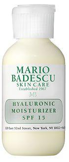 Hyaluronic Moisturizer (SPF-15) from Mario Badescu Skin Care via mariobadescu.com  AMAZING PRODUCTS!