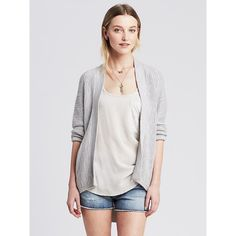 Banana Republic Womens Textured High/Low Open Cardigan Size XL - White... ($40) ❤ liked on Polyvore