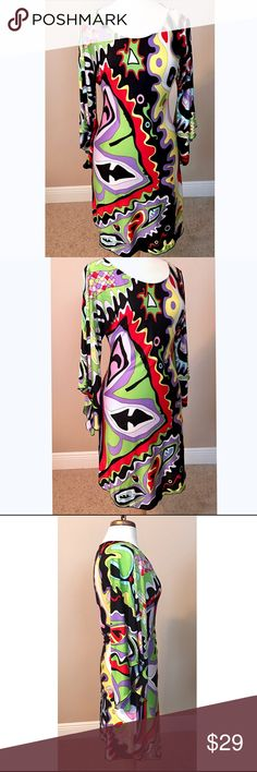 CACHE Retro Geometric Silk Dress S PUCCI Inspired pattern.  Multicolor. 100% Silk. New with tags! Smoke and pet free. Cache Dresses