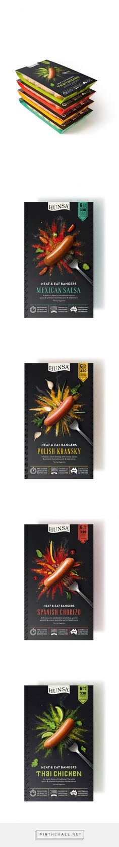 Hunsa Heat & Eat Bangers on Packaging of the World - Creative Package Design Gallery - created via https://pinthemall.net