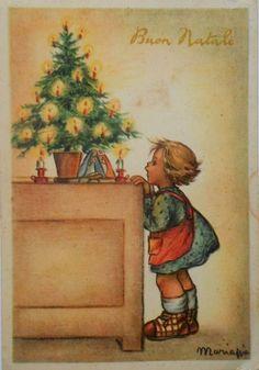 MARIA PIA - Mädchen schaut Krippenfiguren u. Weihnachtsbäumchen an - 1950