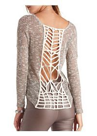 Crochet Back Sheer Marled Long Sleeve Top