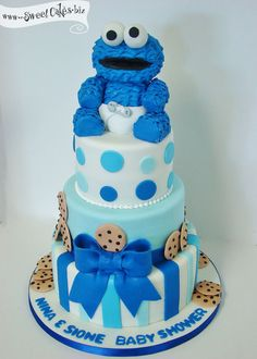 Baby Cookie Monster Baby Shower Cake   #babycake http://www.topsecretmaternity.com/