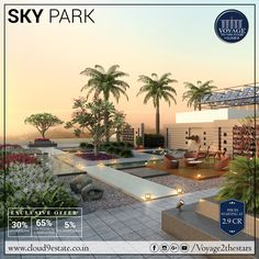 Stroll at your will, at a beautifully designed Sky Park on top of Voyage To The Stars Residences! Learn More: www.cloud9estate.co.in #WorldClassLiving #SkyPark #WorldClassAmenities #PremiumResidences #NIBMroad #Pune