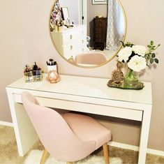 I love this ikea vanity table and gold mirror with the blush chair! Great tips on how to decorate a desk or vanity and glam up your home office, closet or bathroom! Sure makes getting ready a bit more fun if you have a pretty area to sit and do makeup and Bedroom Makeup Vanity, Makeup Table Vanity, Vanity Room, Makeup Vanities, Makeup Rooms, Bathroom Vanities, Makeup Vanity Desk, Makeup Vanity Tables, Makeup Table Ikea