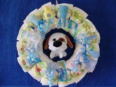 Baby Shower Wreath | Boy Diaper Wreath by The Diaper Baker