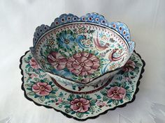Tin Bowl Hand Painted Vintage Tin Bowl and Saucer by DotnBettys