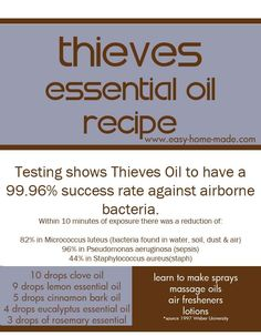 Thieves Oil Recipe 10 drops of Clove Oil 9 drops of Lemon Oil 5 drops of Cinnamon Bark 4 drops of Eucalyptus Oil 3 drops of Rosemary Oil 1 drop Thieves to 4 drops carrier oil -apply topically to feet, neck and behind the ears. *Use daily for protection against cold and flu germs during the winter seasons