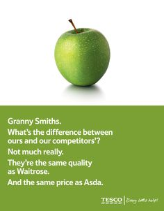 A couple of classic Tesco ads Clever Advertising, Print Advertising, Product Advertising, Copy Ads, Great Ads, Direct Marketing, Granny Smith, Asda, Copywriting