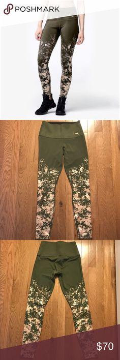 Puma olive green active leggings with gold detail These brand new leggings have a beautiful gold detail print over an olive green color. New with tags. Puma Pants Leggings