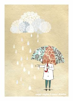 white cloud and rain, when-will-it-stop | Laura Amiss via Etsy
