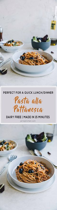Spaghetti alla Puttanesca. Made in just 15 minutes, but incredibly delicious. #spaghetti #puttanesca